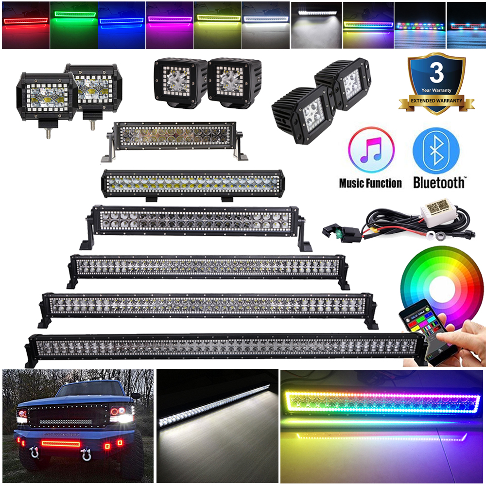 3 4 14 20 22 32 42 50 52 Inch Led Work Light Bar Pods with Bluetooth RGB Chasing Halo MultiColor Strobe Music Flashing ATV Truck