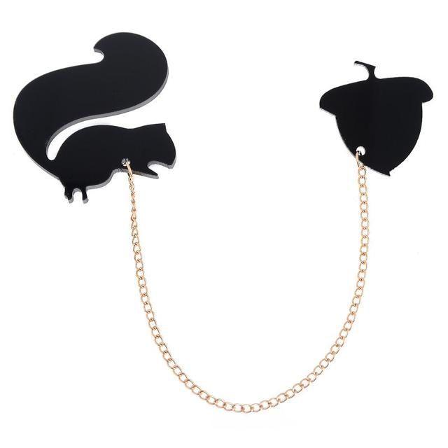 Black Cute Squirrel Chain Brooch Pin Animal Collar Tips Clothing Lapel Pins Clip Statement Accessories Women