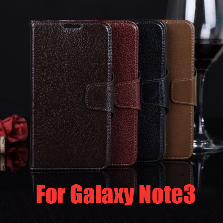 Luxury Wallet Style 100 Genuine Yak Leather Case For Samsung Note 3 N900 Flip Cover Stand