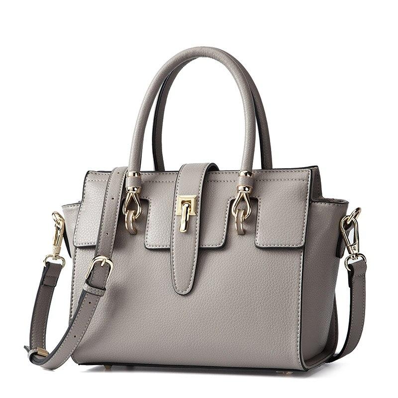 Women Litchi PU Leather Top-handle Handbag Trapeze Bag Fashion Ladies Luxury Shoulder Bags Messenger Bags Famous Brands