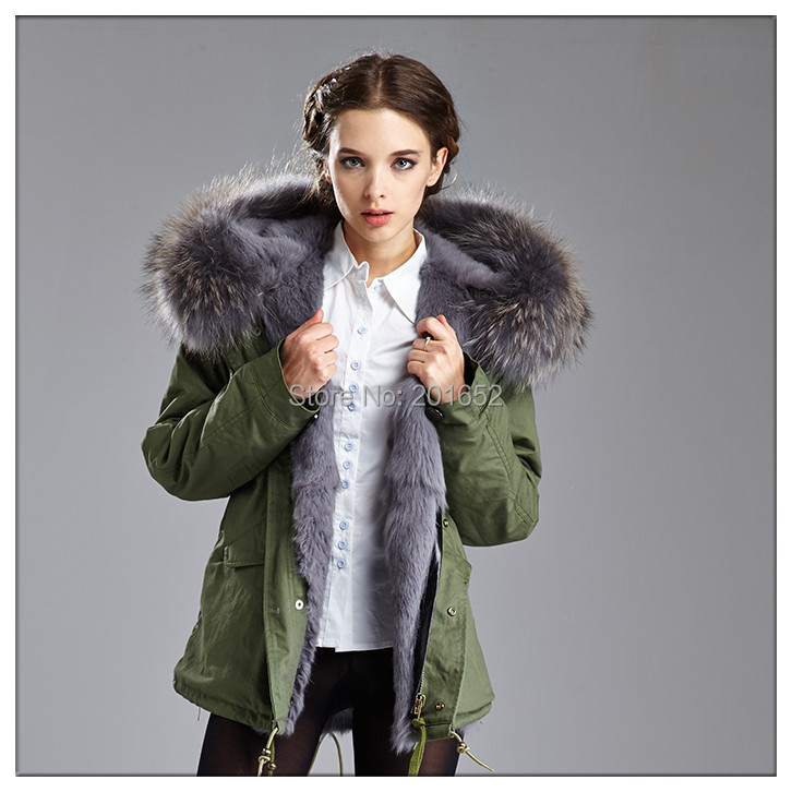 winter jacket women coats thick new 2015 coat parkas army green Large Raccoon Dog fur collar hooded woman outwear - Harve leger store