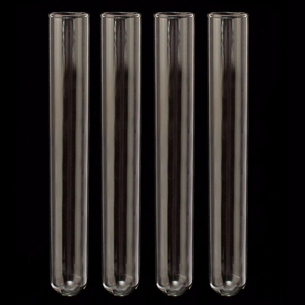 4pcs Borosilicate Glass Tube Glassware Test Tube Pyrex Glass Blowing Tubes For Laboratory School Educational Supplies 20x150mm