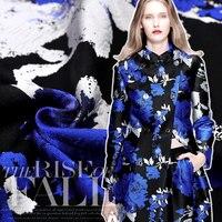 Sea Peony French High Jacquard Clothing Fabric Crisp Blue Flowers Three Dimensional Cotton Fashion Fabric Free