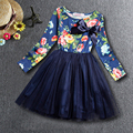 Lo nuevo de Las Muchachas Del Vestido 2017 Marca Princesa Vestido Lleno de Flores de Diseño para Niñas Ropa del Partido Del Vestido 3-7Y