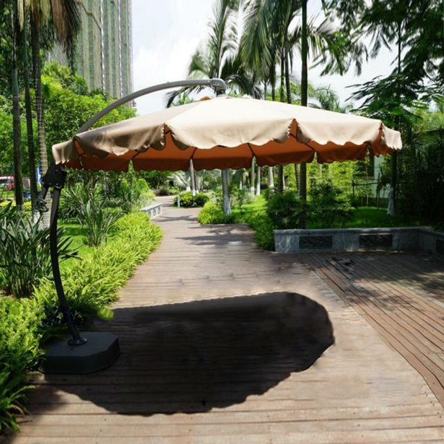 Dia 3 Meter Aluminum Deluxe Outdoor Patio Sun Umbrella Garden Parasol  Sunshade Outdoor Furniture Covers With