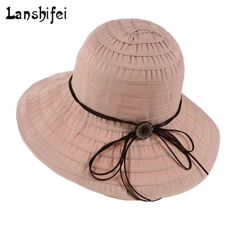 Women Summer Sun Hat Cotton Foldable Large Brim Cloth Sunhat Tying Rope Wood Button Anti-UV Sunshade Lady Elegant Beach Hat
