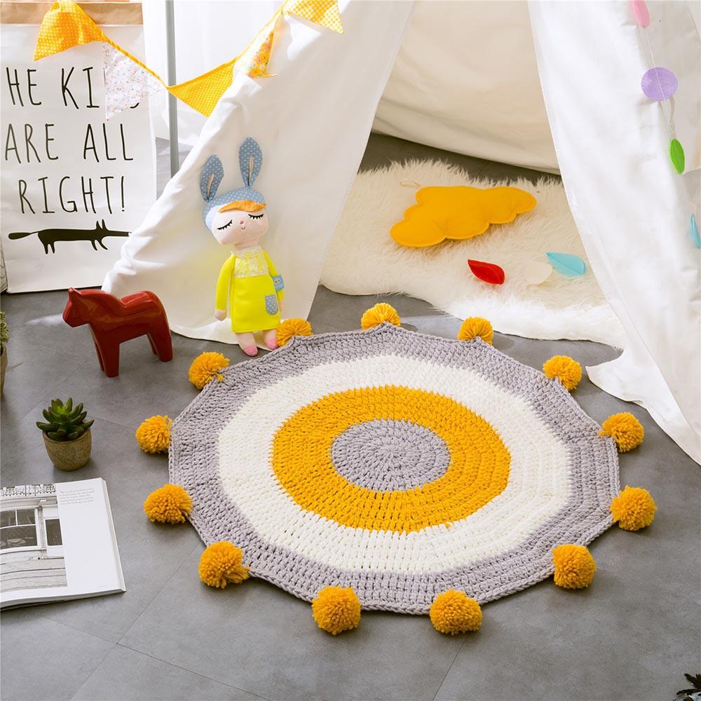 INS Children Premises Mat Hand-woven Mats Baby Play Mats Knitted Blanket Handmade Ball Children Premises Mat Crawling Mat (8)