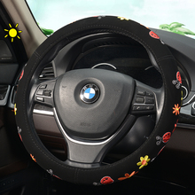 KKYSYELVA Car Interior Accessories Black Auto Sports Steering Wheel Cover Leather 38cm Vehicle Truch Steering Covers цена 2017