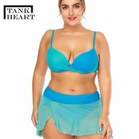 Tank Heart Hot Sexy Blue Women's Swimwear Large Sizes Padded Bikini Set 2 Piece Plus Size Bathing Suits Skirt   Swim   Swiming Suits