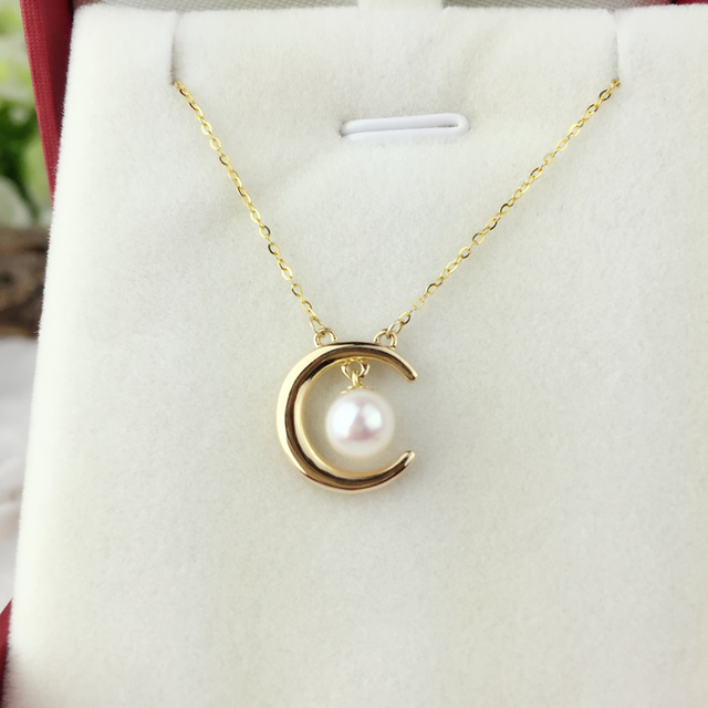 AINUOSHI 18K Yellow Gold Natural Cultured Freshwater Pearl Moon Pendant Woman Wedding 5.5-6mm AAAAA Pearl Engagement Lover Chain