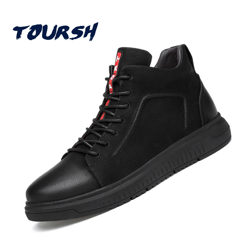TOURSH Spring Mens Shoes Casual Genuine Leather Shoes Black Male Breathable Flats Shoes Big Size 36-47 tenis masculino adulto big size flats shoes high quality genuine leather black spring winter men casual shoes male shoes real leather men oxford flats