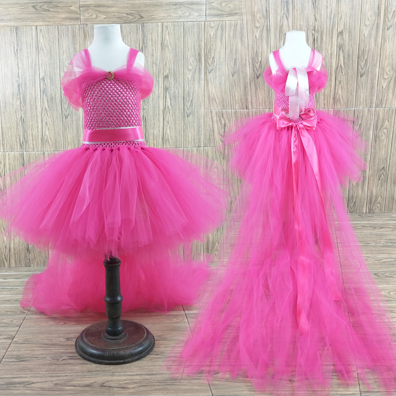 POSH DREAM Flower Girls Elegant Baby Girls Summer Floor Train Birthday Party Tutu Dresses Halloween Unicorn Costume for Kids DPOSH DREAM Flower Girls Elegant Baby Girls Summer Floor Train Birthday Party Tutu Dresses Halloween Unicorn Costume for Kids D