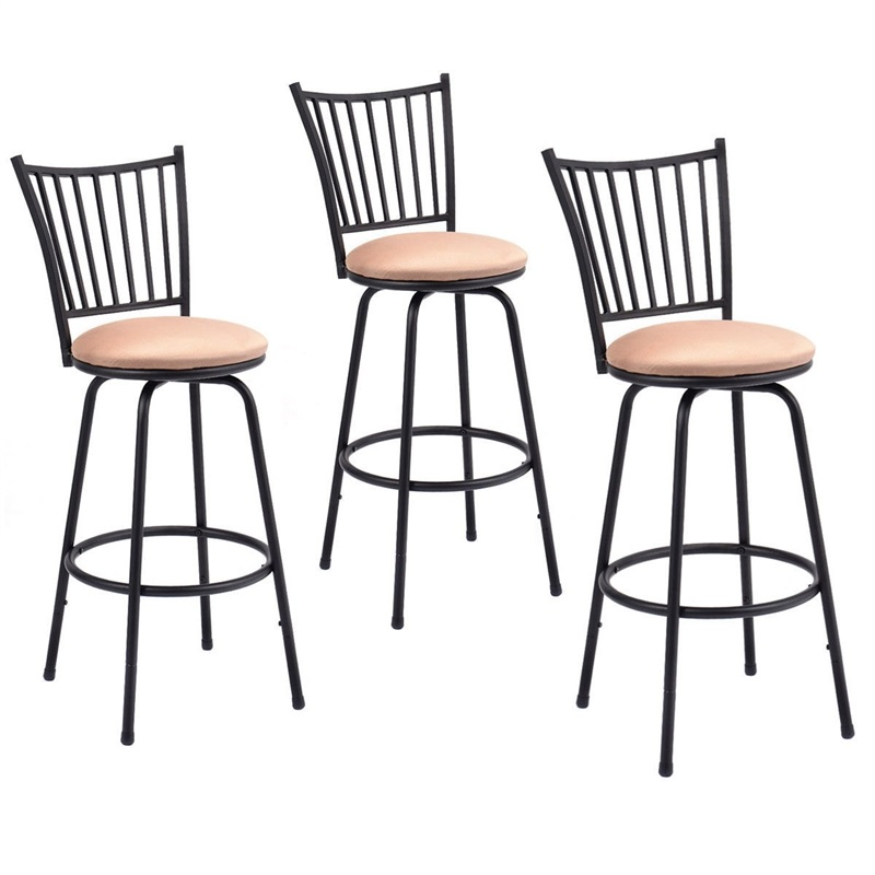 Set Of 3 Swivel Counter Height Bar Stools 360-degree Swivel Bar Chair With A Sponge-filled Cushion Durable Steel Frame HW52698