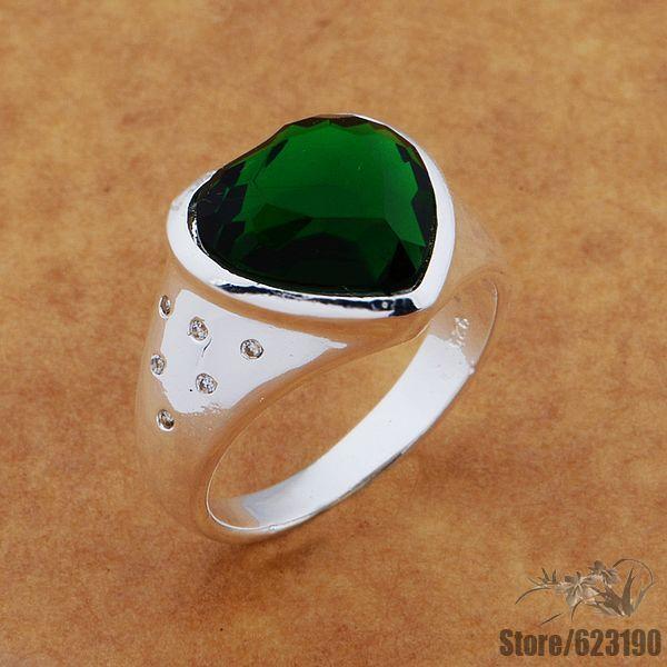 AR575 แหวนเงิน, เงินชุบแฟชั่นเครื่องประดับหัวใจฝัง big jadeite หิน/entanfaa gafaorma