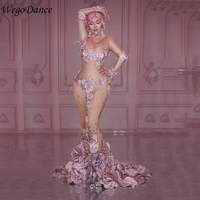 New Pink Flowers See Through Long Dress 3D Pattern Mesh Stretch Birthday Party Dress Women Singer Performance Costume