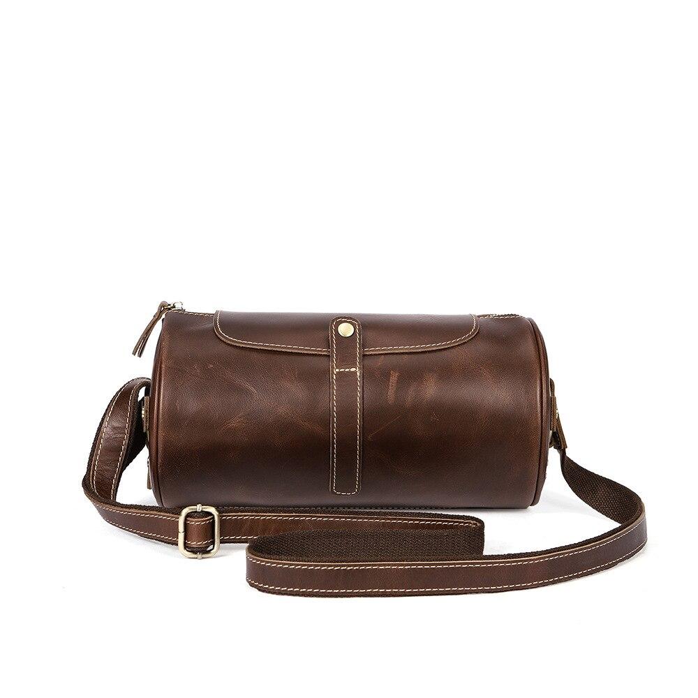 Crazy Horse Genuine Leather Handbag Men's Crossbody Shoulder Messenger Bag Zipper Business Bags