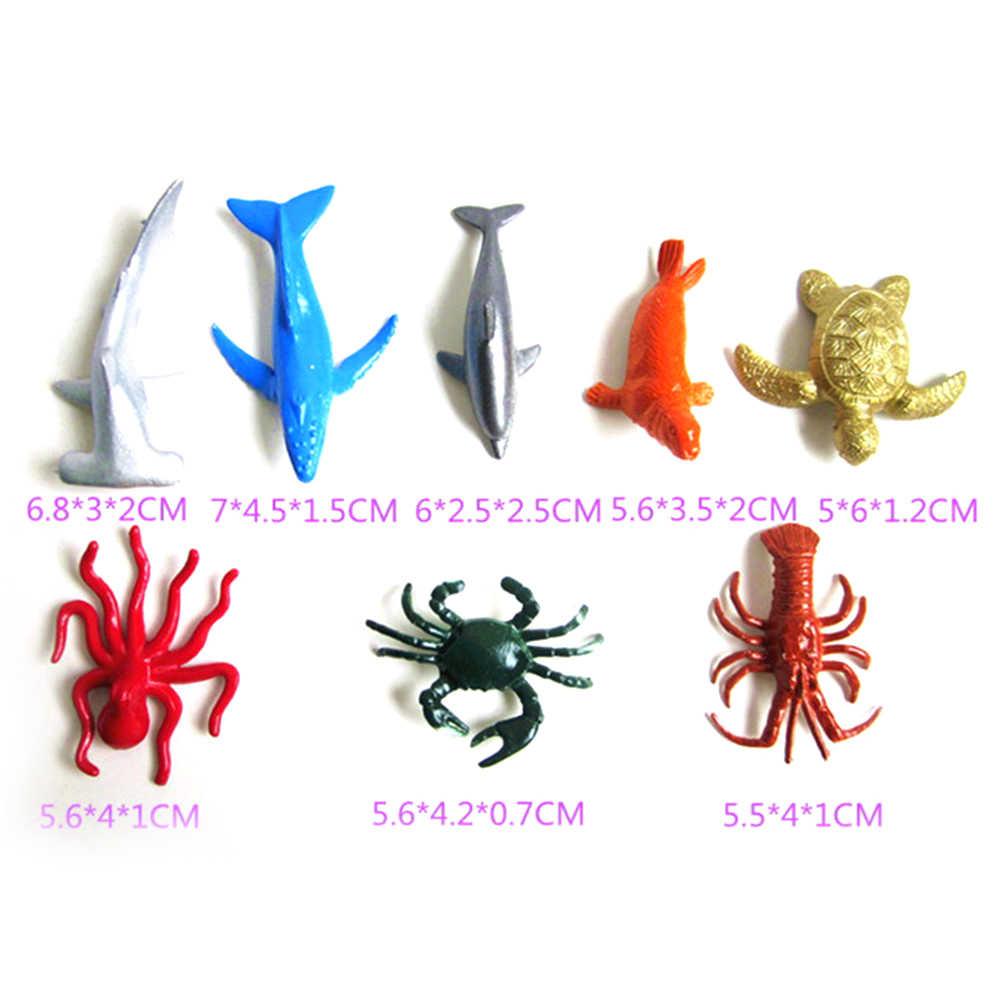 8 stil Modell Spielzeug Marine Leben Meer Tier Set Whale Shark Octopus Pinguin Kinder Geschenk Delphin Schildkröte Krabben Größe: 50-70mm