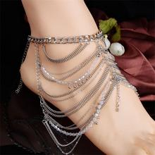 2016 New 1Piece Fashion Multilayer Foot Decoration Tassel Jewelry Chain Anklet Ankle Bracelet Sandal Girl Gift