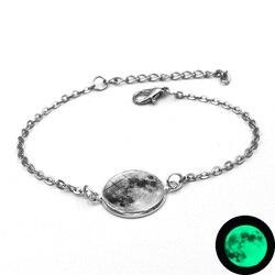 Glow In The Dark Charms Armband Glas Cabochon Grau Mond Leuchtende Schmuck Silber Kette Link Armbänder für Frauen Mädchen Geschenk