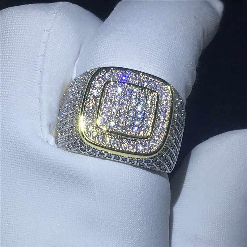 Choucong 2018 masculino hip hop anel de festa 274 pçs 5a zircon cz ouro amarelo preenchido 925 prata noivado anéis de casamento para jóias masculinas