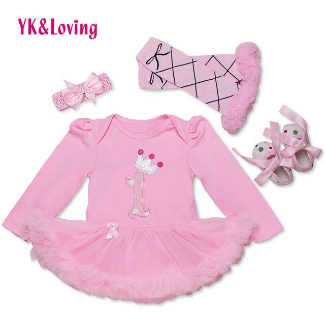 e8cdf1761 Baby Birthday Dress Cotton Newborn Girl Clothing Set Full Sleeve Bodysuit  +headband + Leg Warmers