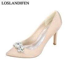 цены New 2018 Handmade Wedding Shoes Woman Silk Fashion Crystal Women Pumps Sexy 8 Cm High Heels Shoes Ladies Party Shoes NLK-A0131