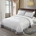Роскошный Трикотажный Хлопковый комплект из 3 предметов, покрывало, одеяло, набор постельного белья размера King queen, матрас, одеяло с наволочк...