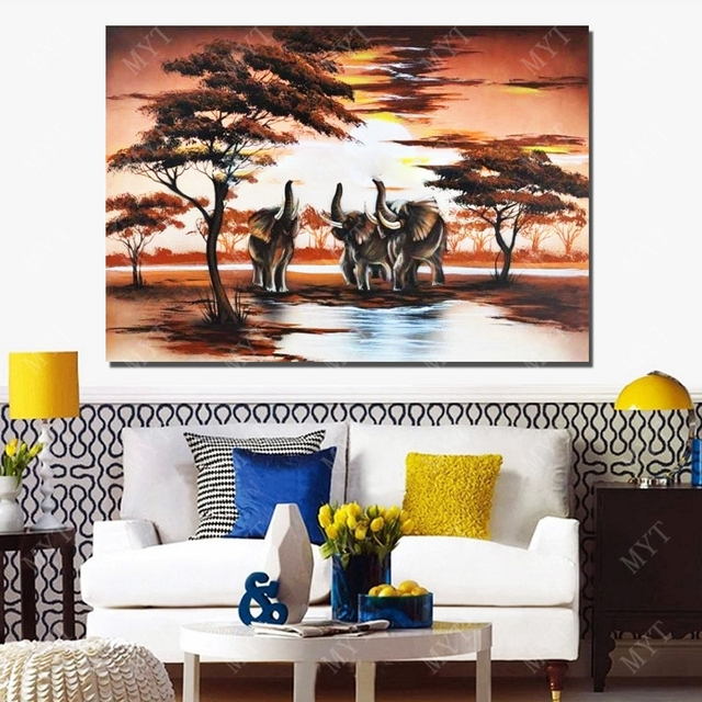 Africa Elephant Landscape Painting On Canvas Living Room Wall Decor Oil Sale