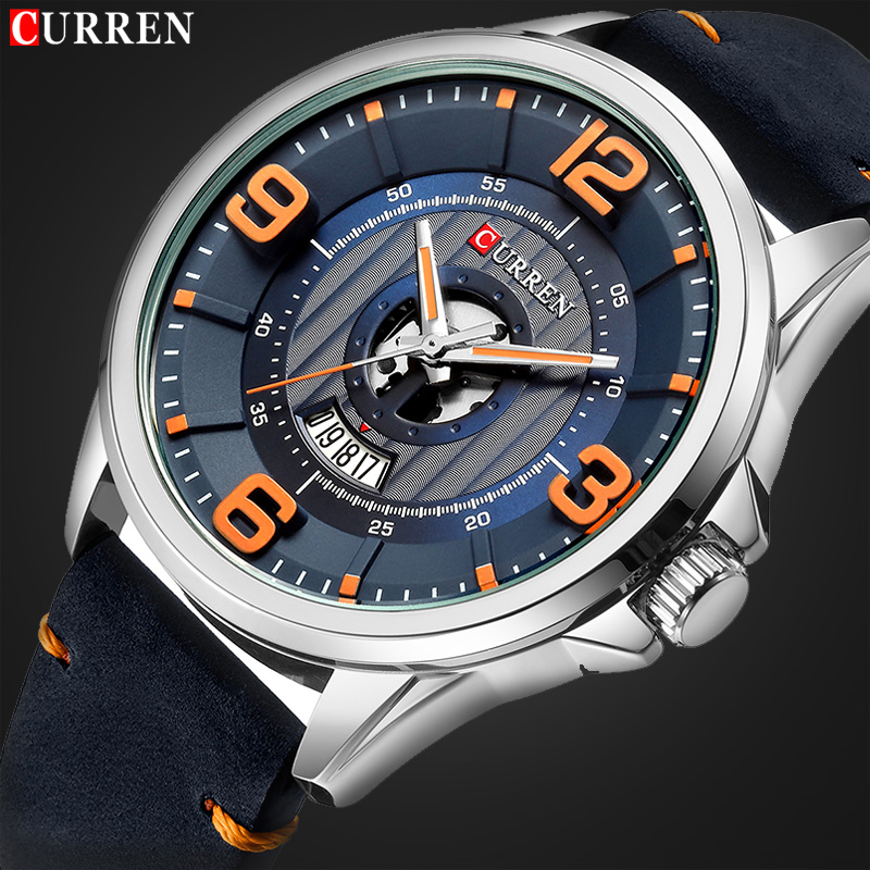 Relogio Masculino New CURREN Luxury Brand Men Fashion Sport Watch Mens Leather Waterproof Quartz Wrist Watches Male Date Clock new arrival curren fashion brand leisure business series watches leather date calendar men waterproof wrist watches brown strap