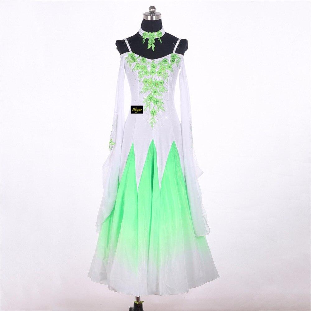 Sexy Modern Dancing Dresses For Ladies White Green Skirts For Women Adult Female Tango Waltz Ballroom Presentation Garments 0035
