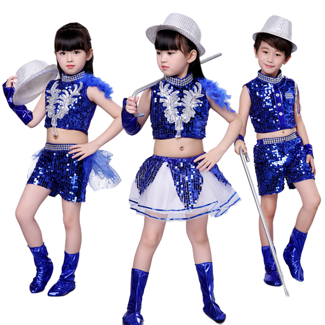53e69c09a Children s Jazz Dance Costumes Sequins Dress Modern Stage ...