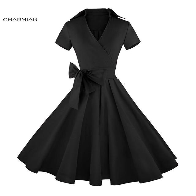 3796b049c11 Charmian Femmes de Plus La Taille Robe D été Audrey Hepburn Vintage Robe  Polka Dot