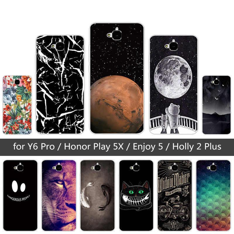 TPU souple Lion étui pour Huawei Honneur 4C Pro TIT-AL00 Y6 Pro TIT-L01 Profitez de 5 Honneur Holly 2 Plus Couverture Pour Huawei Honor Jouer 5X