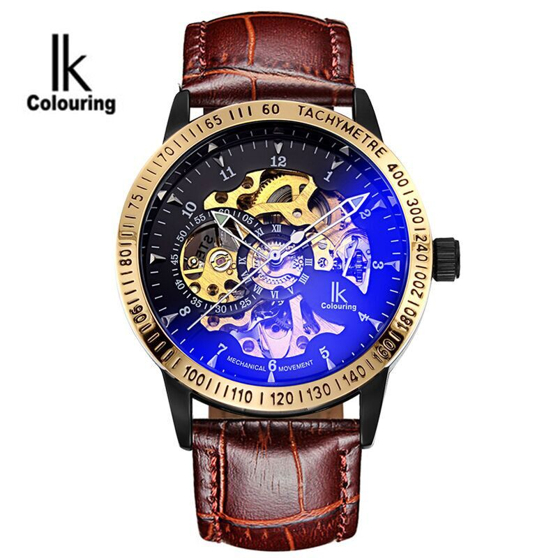 IK Casual Orologio Uomo Men's See Through Auto Mechanical PU Leather Strap Watches Original Box Gift Free Ship ik colouring men s orologio uomo allochroic glass skeleton auto mechanical watch wristwatches gift box free ship