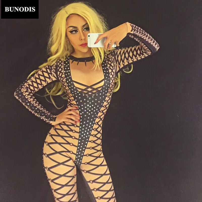 BU011 Black Line Sexy Jumpsuit Sparkling Crystals Bodysuit Nightclub DJ DS Singer Clothing Stage Wear Costume Women Sexy Clothed