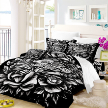 3D Sugar Skull Duvet Cover Set Black Rose Print Bedding Valentines Day Couples Sets King Queen Quilt Pillowcase