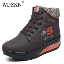 WDZKN Autumn Winter Women Snow Boots Warm Plus Thick Velvet Wedge Ankle Boots For Women Winter Fur Platform Shoes Zapatos Mujer
