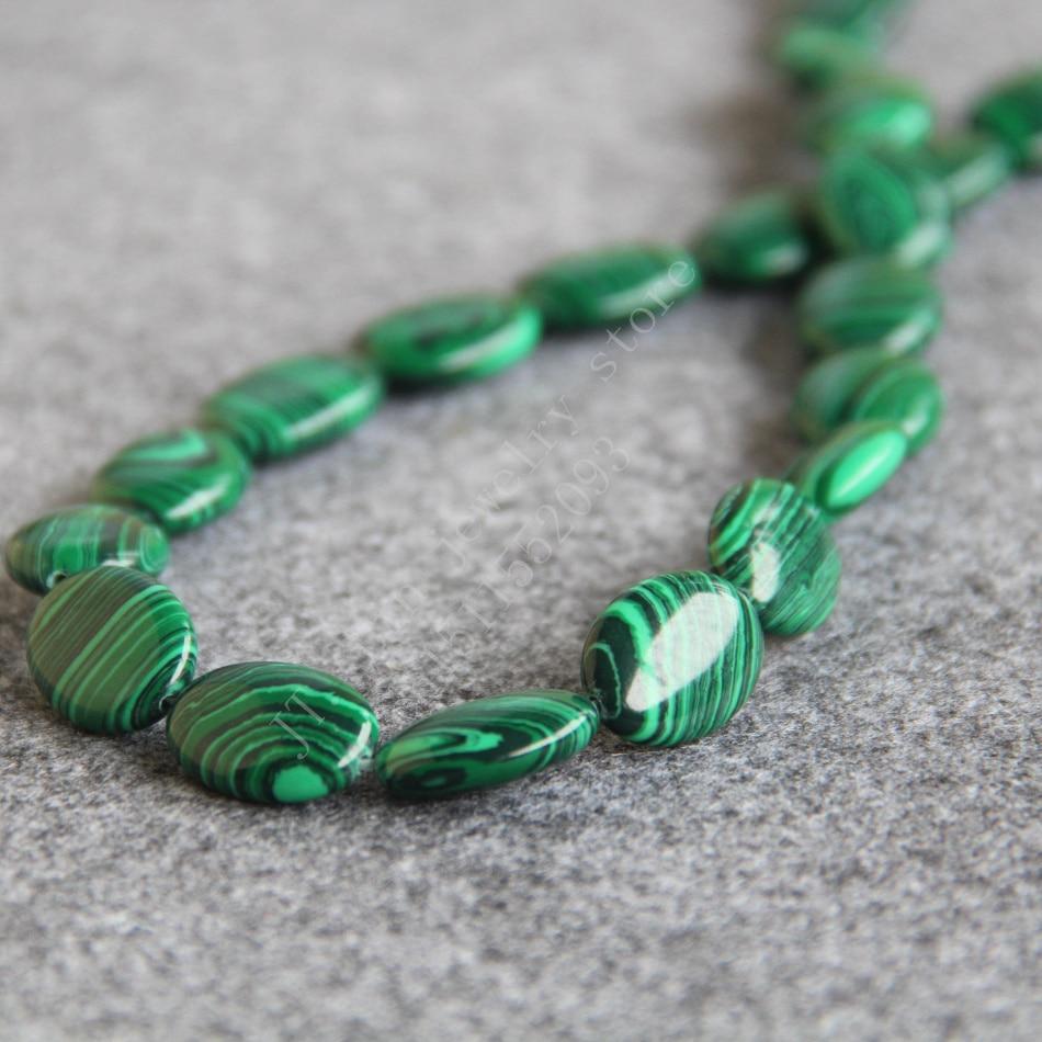 ᐂT8049 + 13x18mm oval Turquía verde malaquita moda hermosa joyería ...