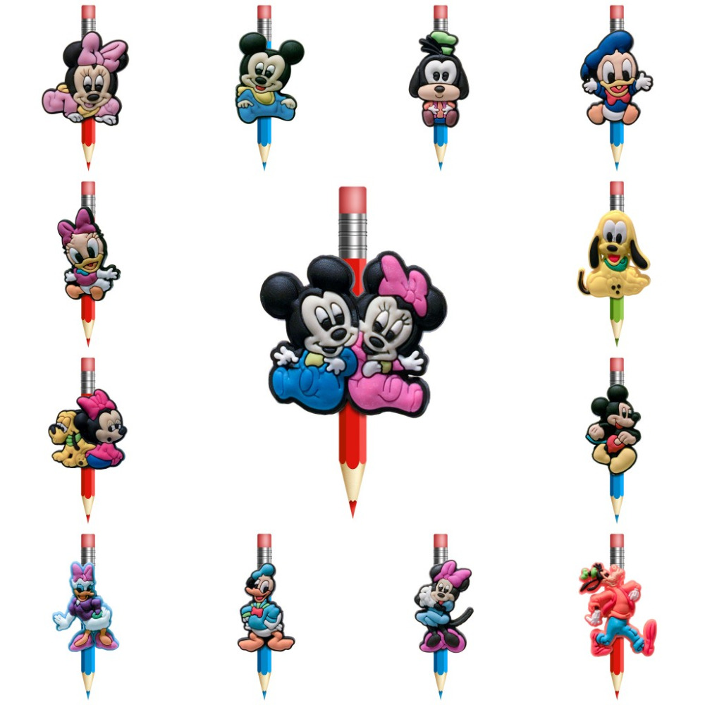 1Pcs Mickey Minnie Cartoon Figures Pencil Topper Straw Charm Caps Holders Students Supplies Pencil Grip Pen Holders Kids Gifts