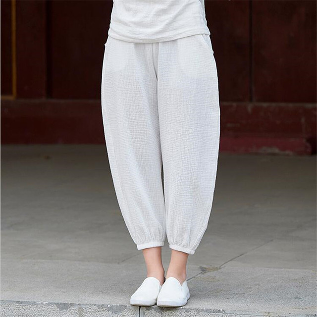 Cotton Linen Solid Women Pants Sample Maxi Autumn 2019 New Lantern Elastic Waist Loose Casual Baggy Trousers Knickers Big Size