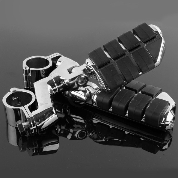 Universal Chrome Front Left&Right Footrest Foot Pegs For Harley Motorcycle 30mm chrome lion paw foot pegs