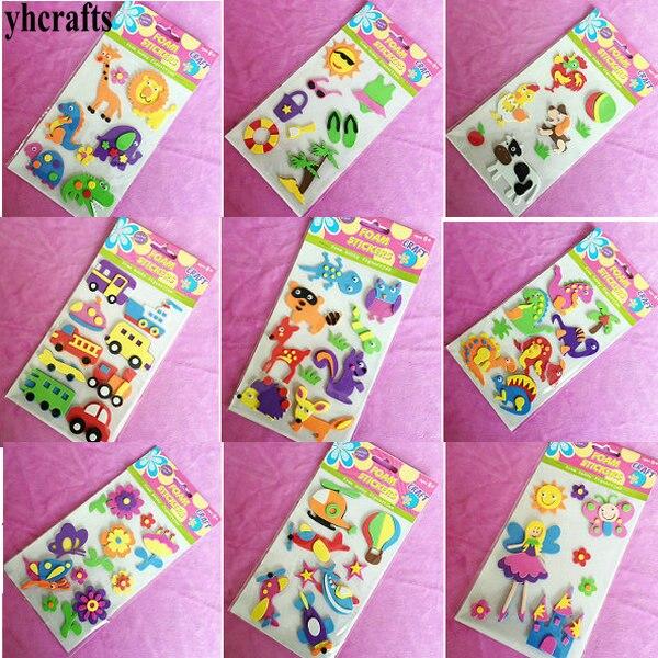 1 Zak/partij, 3d Foam Stickers Dier Auto Bloem Mermaid Prinses Dinosaurus Oceaan 3d Foam Stickers Kids Craft Diy Speelgoed Creatieve Ambachten