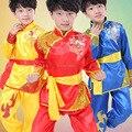 2016 Totem Do Dragão do Estilo Chinês Tai Chi Kung Fu Artes Marciais Dancewear Desempenho Roupa Figurino das Crianças 110 cm-160 cm