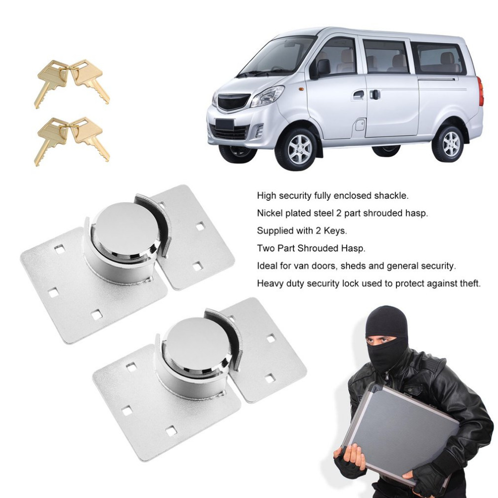2PCS/SET 73mm Security Padlock And Hasp Set Chrome Plated Stainless Steel Garden Shed Van Cupboard Gate Door Lock Hardware2PCS/SET 73mm Security Padlock And Hasp Set Chrome Plated Stainless Steel Garden Shed Van Cupboard Gate Door Lock Hardware