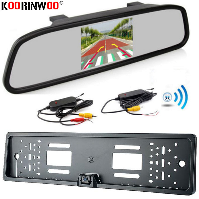 Koorinwoo EU Auto Rearview Kamera Parkplatz Monitor-System + 4,3 zoll Farbe LCD Auto Monitor Spiegel Video RCA eingang