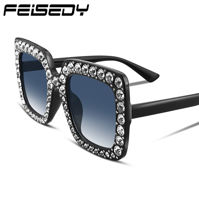 FEISEDY Sparkling Crystal Decorated Oversized Square Thick Frame ...