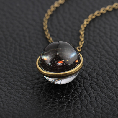 2019 New Nebula Galaxy Double Sided Pendant Necklace Universe Planet Jewelry Glass Art Picture Handmade Statement Necklace N60