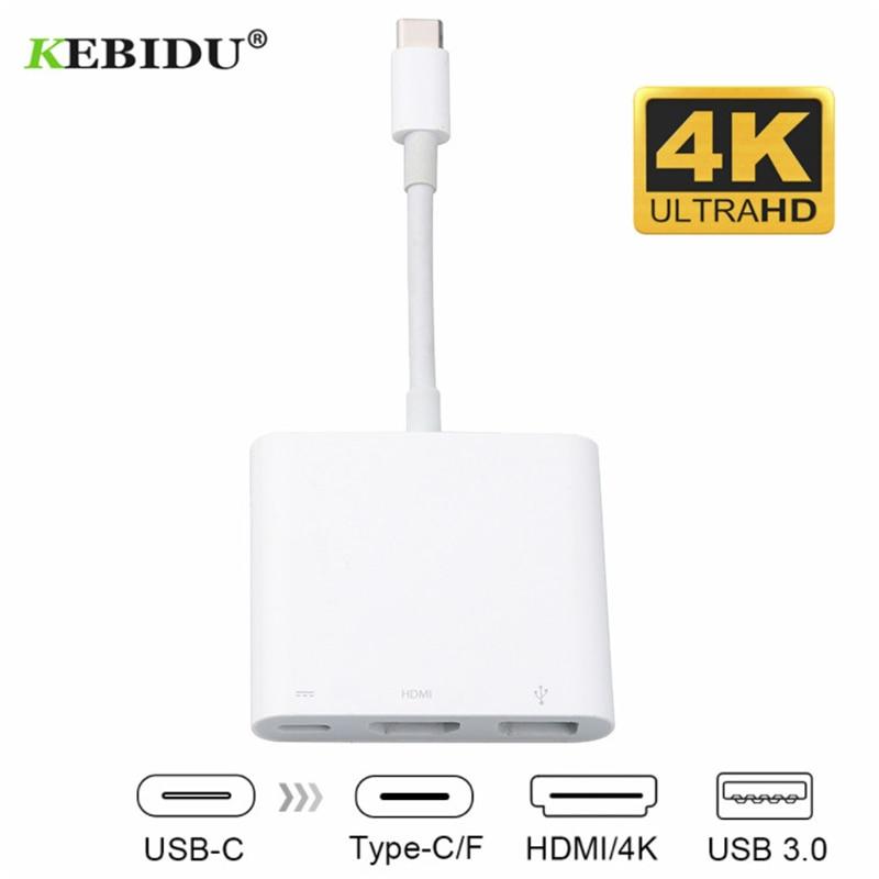 KEBIDU USB Type-C концентратор адаптер 3-в-1 USB C концентратор к HDMI USB3.0 Type-C Женский адаптер цифровой AV многопортовый адаптер