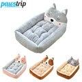 Pawstrip  Милая зимняя кровать для собаки  диван  мягкая теплая кровать для кошки  домик с мультипликационным принтом  маленькая кровать для соб...