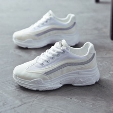 ФОТО women shoes 2018 new spring soft clunky sneakers trainer loafer top air non-slip wearproof casual  joker shoelaces comfortable